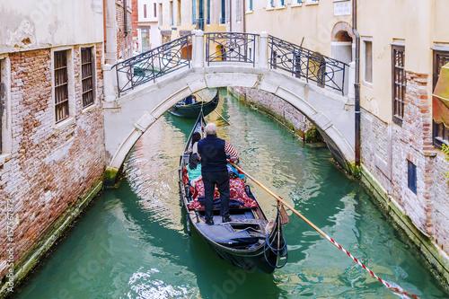 Spoed Foto op Canvas Gondolas Gondolas in Venice, italy