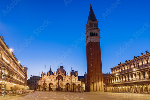Photo  Square of San Marco in Venice. Night view