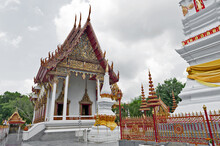 Ubosot (chapel) Of Wat Mahathat Temple In Downtown Yasothon, Northeastern (Isan) Province Of Thailand, Where Phra That Anon, An Old Thai Chedi (stupa Or Pagoda) Containing Relic Of Ananda (a Favoured