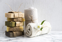 Spa Treatments With Natural Soap And Towels
