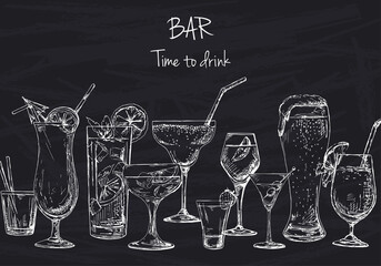 Fototapeta Do gastronomi Background with different cocktails. Drawing chalk on a blackboard. Caption: bar, time to drink. Place on your text. Vector illustration of a sketch style.