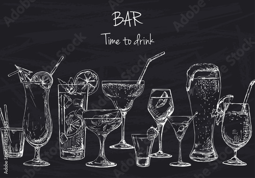 Background with different cocktails. Drawing chalk on a blackboard. Caption: bar, time to drink. Place on your text. Vector illustration of a sketch style.