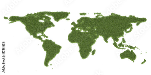 Foto op Canvas Wereldkaart Ecology world map, from green grass. 3D rendering