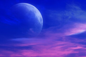 Romantic decline and mystical moon .Sunset and new moon .  Paradise heaven . Dawn in pink clouds . Religious background.