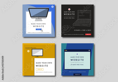 four square technology web banner layouts buy this stock template