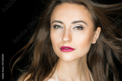 Fototapety, obrazy: Fashion photo of beauty woman on dark background