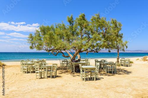 Romantic greek tavern on the Plaka beach. Naxos island, Greece. Wallpaper Mural