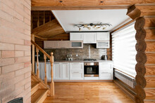 The Kitchen Room In A Rustic L...