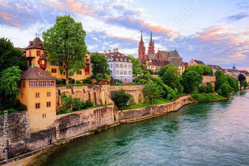 Basel Old Town with Munster cathedral and Rhine, Switzerland Wallpaper Mural