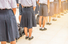 Thailand Secondary Education Students Are Standing In Line In The Morning With School Uniform In Asia