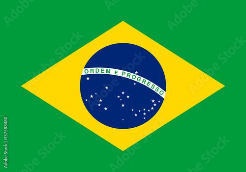 Brazilian flag, flat layout, vector illustration Fotobehang