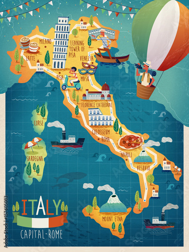 Italy travel map Tablou Canvas
