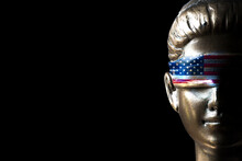 Lady Justice With U.S Flag Blindfold