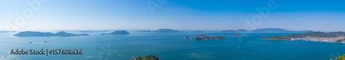 Fototapeta 瀬戸内海パノラマ風景 女木島~小豆島 屋島からの眺め obraz