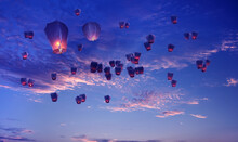 Flying Lanterns In The Sky