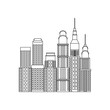 city buildings and skyscrapers of urban skyline business apartment commercial vector illustration