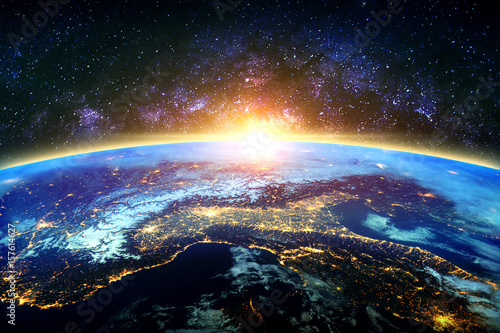 Staande foto Nasa Earth and galaxy. Elements of this image furnished by NASA.