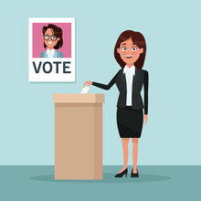 Background Scene Woman In Formal Suit Skirt Vote For Woman Candidate Vector Illustration