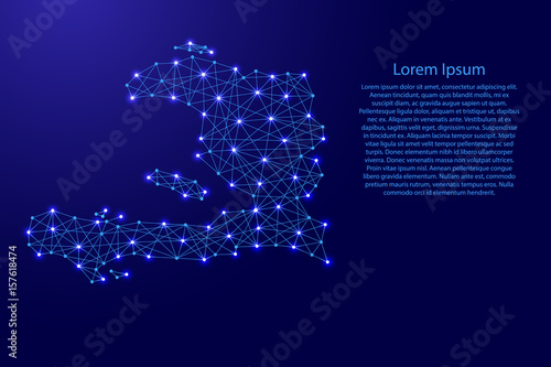 Foto Map of Haiti from polygonal blue lines and glowing stars vector illustration