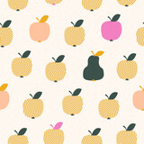 seamless pattern with many apples and one pear - 157624401