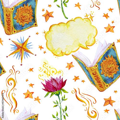 ksiazki-z-magicznymi-zakleciami-i-gwiazdy-malowane-akwarela-na-bialym-tle