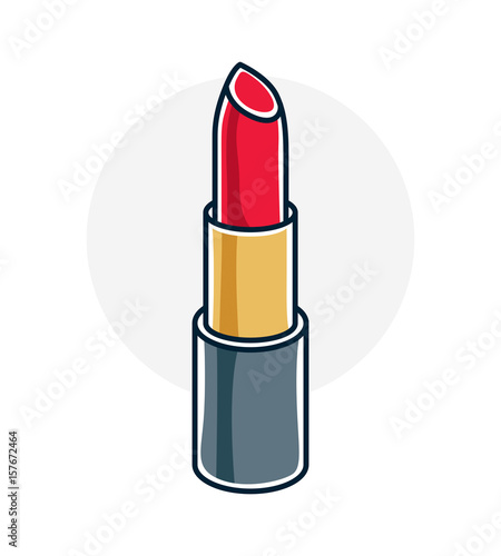 Vector illustration of single red lipstick isolated on white background. Personal cosmetic accessory, glamorous beauty product. Wall mural