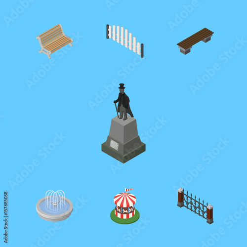 In de dag Groene koraal Isometric Urban Set Of Seat, Fence, Park Decoration And Other Vector Objects. Also Includes Fence, Wooden, Monument Elements.
