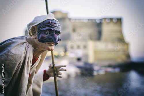 Montage in der Fensternische Neapel Lndscape of Naples with Pulcinella mask, Italy travel concept, Naples Italy