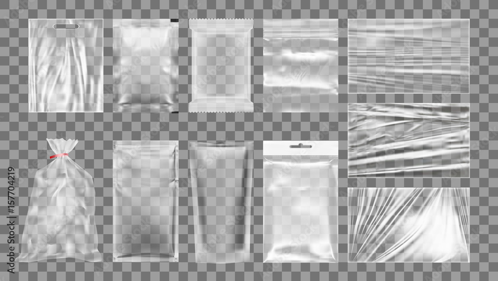 Fototapeta Big Set Of Transparent Empty Plastic Packaging