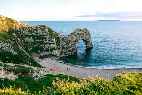 Photo  Beach, sea and Durdle Door on Jurassic Coast, Dorset, UK