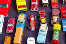 Old Toy Cars Displayed At A Junk Shop At Old Spitalfields Market In London