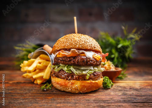 Fotografie, Tablou Fresh tasty burger