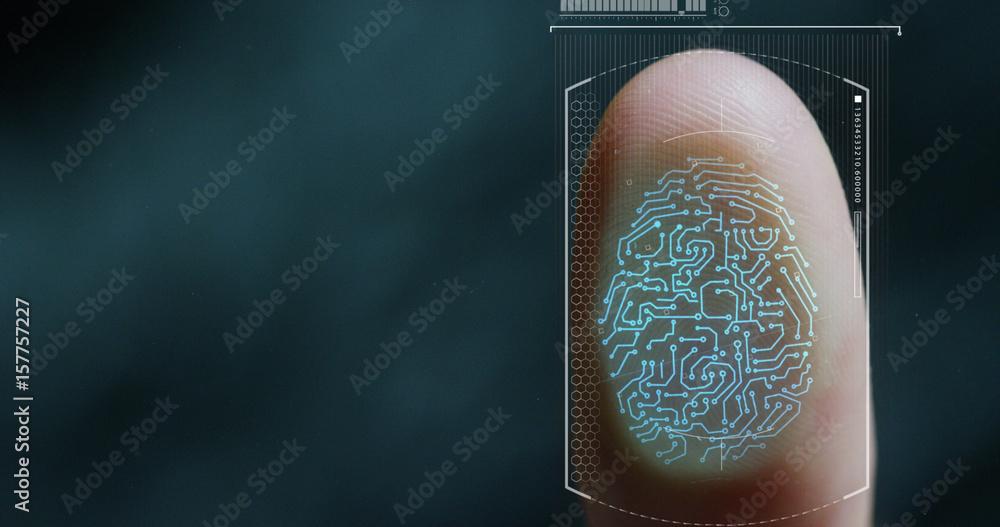 Fototapeta futuristic digital processing of biometric fingerprint scanner. concept of surveillance and security scanning of digital programs and fingerprint biometrics. cyber futuristic applications, future.