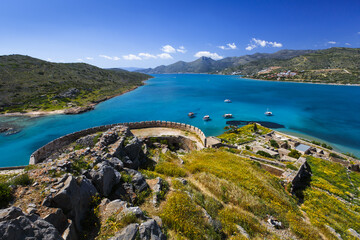 Historical site of Spinalonga island on a sunny spring day, Crete, Greece.