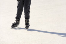 Ice Skates On Ring, People, Winter Sport And Leisure Concept