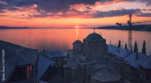 Fotografie, Obraz  Sunset at Dochiariou Monastery, Athos Peninsula, Mount Athos, Chalkidiki, Greece
