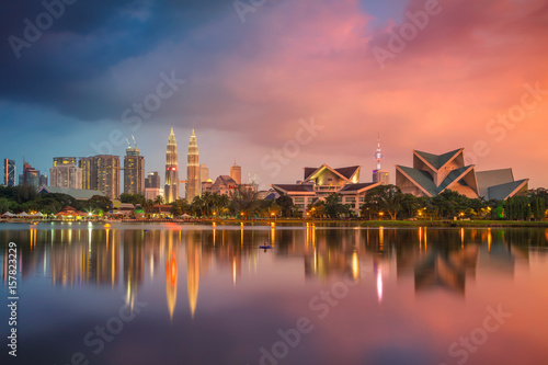 Photo Stands Kuala Lumpur. Cityscape image of Kuala Lumpur, Malaysia during sunset.