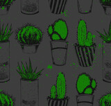 Cacti in the potties. Repeated pattern. Seamless texture.  It can be used as wallpaper, printing, wrapping, fabric or background for your blog and your design. - 157824880