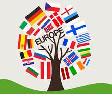 Set Of World Flag In Tree Design : Europe : Vector Illustration