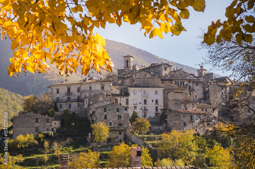 The historic village of Scanno in autumn - Abruzzo - Italy Canvas Print
