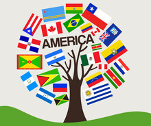 Set Of World Flag In Tree Design : America : Vector Illustration