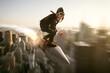 canvas print picture - Mann auf Rakete über Stadt