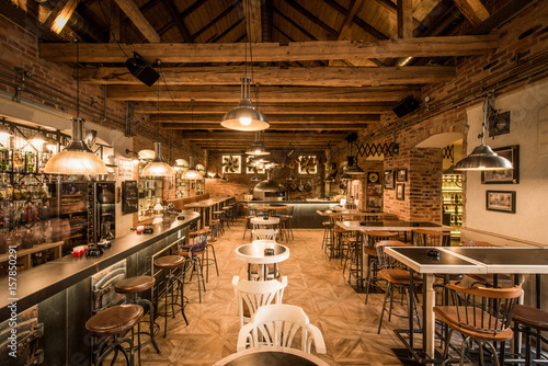 Fotografie, Tablou Retro wooden loft caffee restaurant