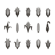 Corn Icon Black And White. Vec...