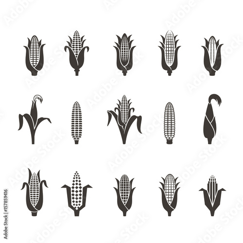 Carta da parati corn icon black and white
