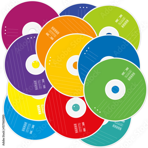 Heap Of Cds Or Dvds Cd Pile With Colored Labels As A Symbol For
