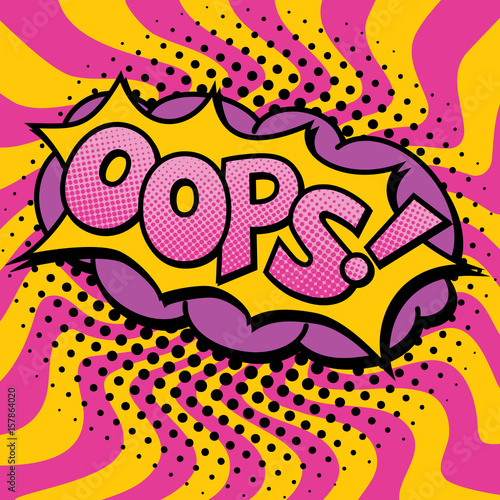 Fototapeta Pop Art Oops Text Design