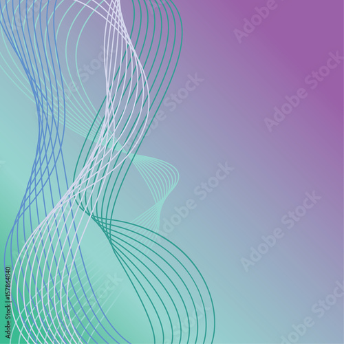 Fotografie, Obraz  Wavy Lines Background in Cool Colors 3