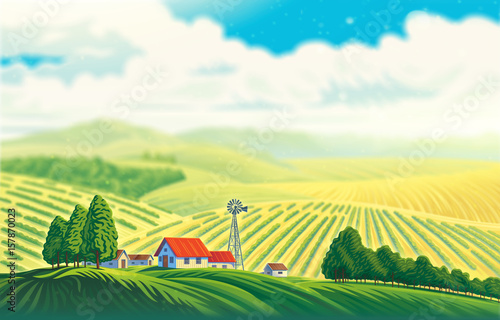Fotobehang Wit Rural landscape with a beautiful view of distant fields and hills. Raster illustration.