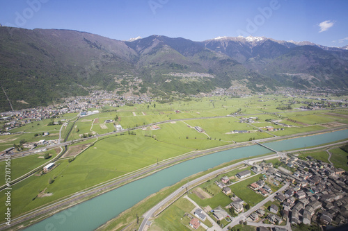 Aerial view of Sirta and Adda River Masino Valley Lower Valtellina Lombardy Ital Canvas Print